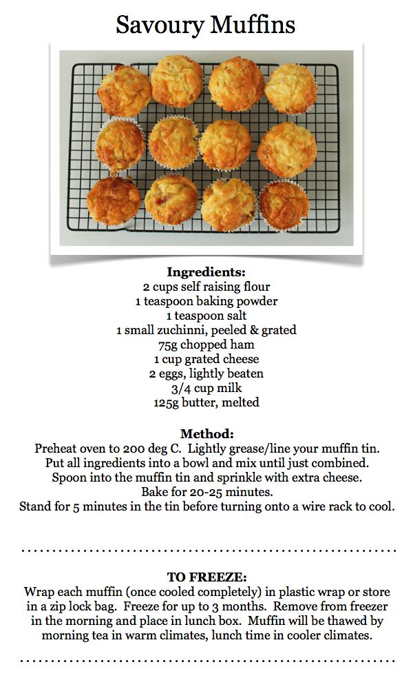 Savoury muffins. This recipe could be adapted by adding stronger cheese, onion, herbs. All to individual taste.