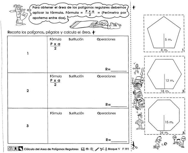 Cálculo del area de polígonos regulares 6to grado