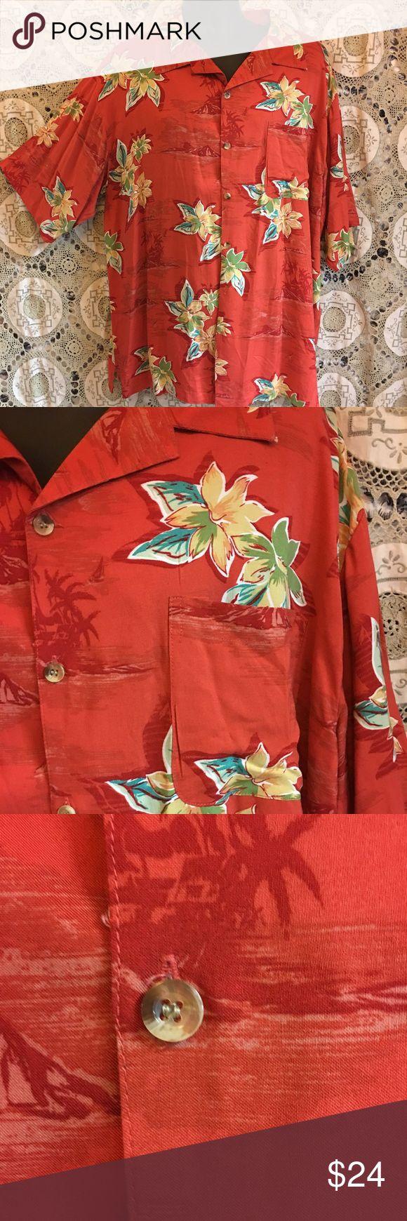 Mens Hawaiian shirt with Abalone shell buttons XXL XXL men's Hawaiian shirt bright red with floral print island blue Shirts Casual Button Down Shirts