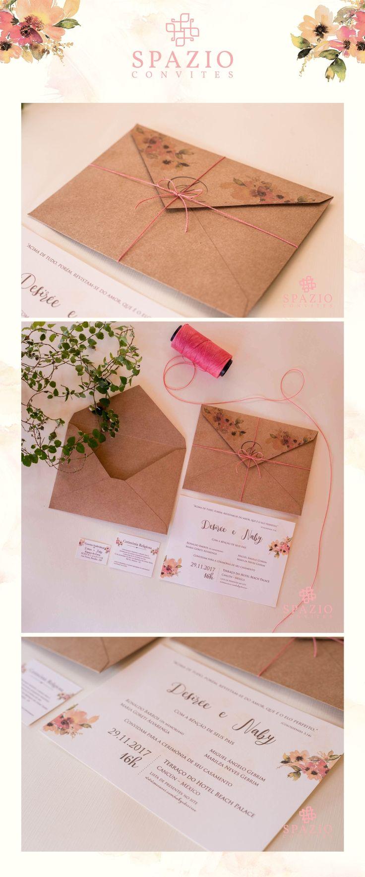 Convite de casamento rustico, casamento em cancun mexico | Noivos Nabi e Desiree, papel kraft com cordão rosa nude