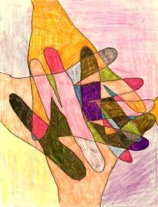 """Helping hands  """"We talked about how many people help us daily, and how we help or can help others.  We did this project with the fifth graders."""""""