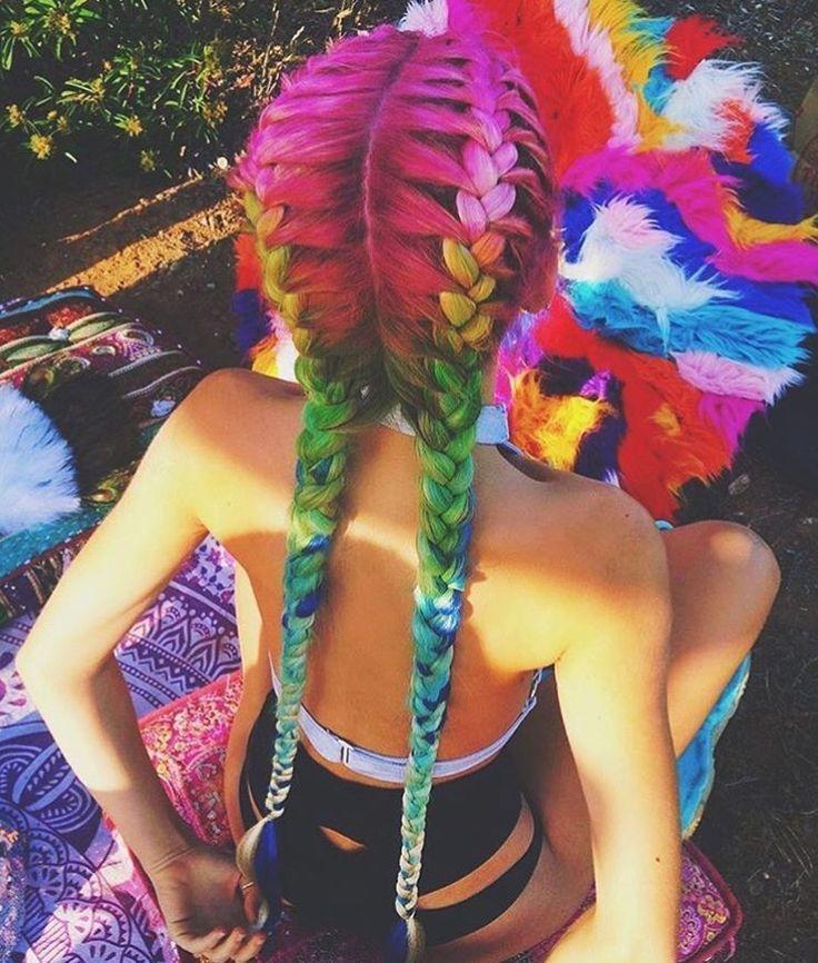 Rainbow Braids – festival hairstyles   goldplaited – #Festival #goldplaited …   – Haar ideen