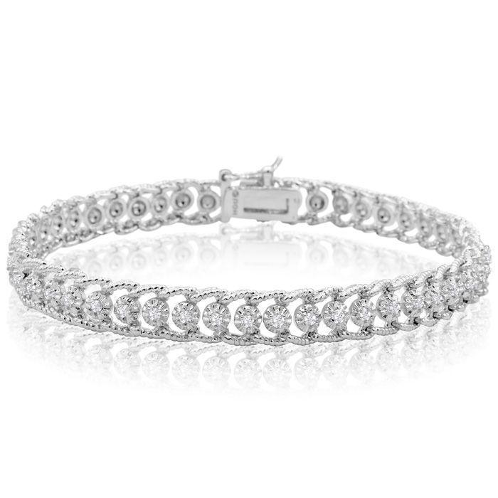 1 Carat Diamond Tennis Bracelet In Platinum Overlay 7 Inches Superjewel Tennis Bracelet Diamond Silver Bracelet Designs Beautiful Jewelry Bracelet