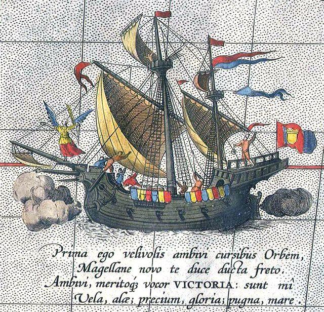 Detail from a map of Ortelius - Magellan's ship Victoria - Fernand de Magellan — Wikipédia