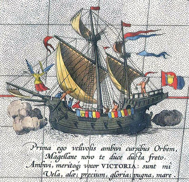 Detail from a map of Ortelius - Magellan's ship Victoria - Fernand de Magellan — Wikipédia