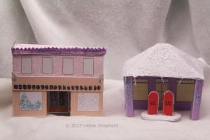 """Free Printables for an """"N""""Scale  Glitter / Coconut House Village: Printable Glitter Store and Garage"""