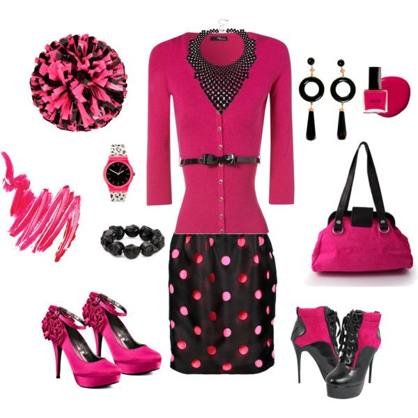 Pink and Black is where it's at!, created by mammabee53 on Polyvore