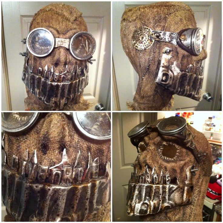 Mask made for a male actor at work. License plates, retro moto goggles and burlap.