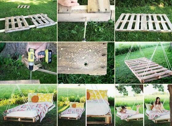 Wooden pallet bed swing