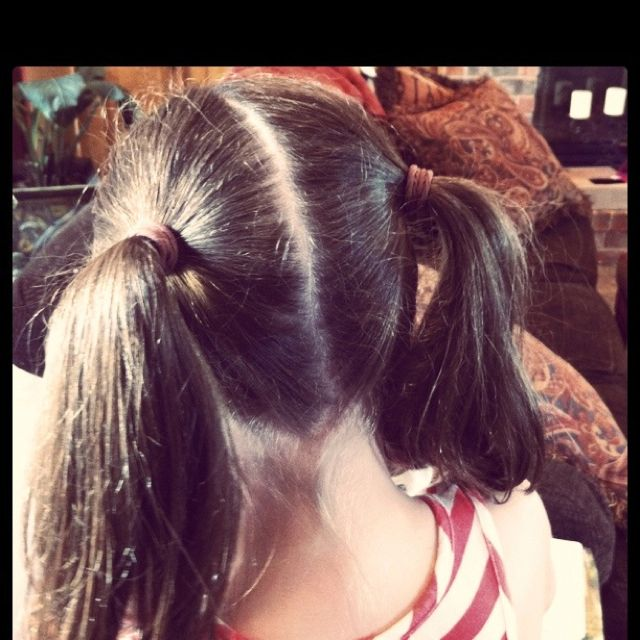 Double Pony Tails (My daughter's had long hair and I would often brush it this way. Especially on really hot days!) Would tie ribbon around each tail into pretty bows or use those fancy rubber bands. So cute!