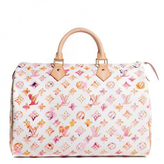 This is an authentic LOUIS VUITTON Watercolor Aquarelle Speedy 35 in White. This is the limited edition and very beautiful Louis Vuittion and artist Richard Prince inspired Watercolor Speedy.