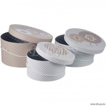 J-Line Set van 3 hoedendozen met schaap Oscar wit-grijs-taupe 30