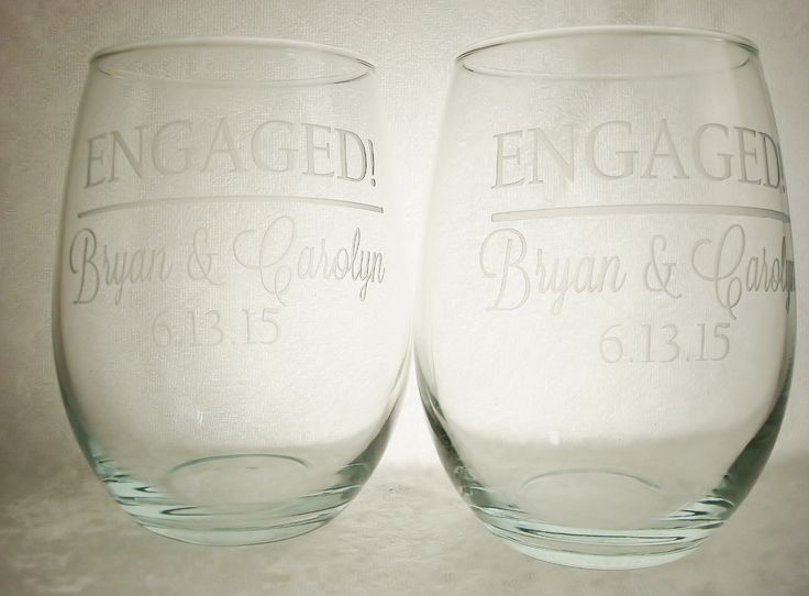 Pair of Engaged! Personalized 13 oz stemless wine glasses | Engaged Couple Gift | Engagment Announcement - pinned by pin4etsy.com