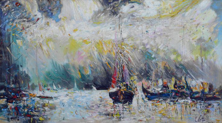 """""""Большие лодки"""" 2015 г, х.м. 75х135  110 т.р. Морской пейзаж прекрасно смотрится в классическом интерьере, в кабинете. Прекрасный подарок любимому мужчине или руководителю."""