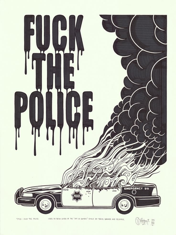 "originalgiantcontent: """"Fuck the Police"", 18x24″, permanent marker and graphite on fine drawing paper, 2016. """