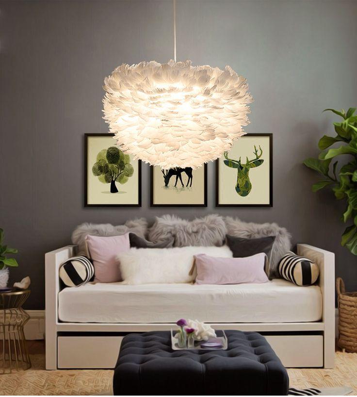 Modern Brief White LED E27 PVC Feather Pendant Light hanging droplight suspension luminaires for Bedroom Restaurant Decor #Affiliate