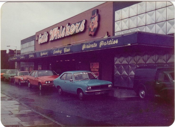 Cat's Whiskers Burnley in the 70's. I only ever went into this place once in my life to see Nik Kershaw in concert! We didn't get many stars coming to Burnley! My Mum was regular though. loved the design. Great cars in this pic too.