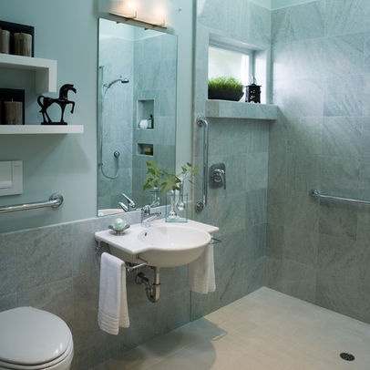 Accessible bathroom  accessible sink with towel bars to save room