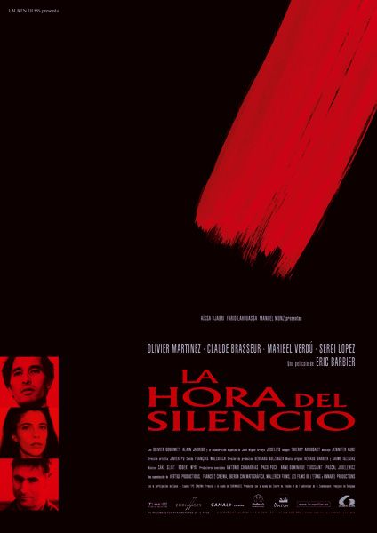 """Cartel promocional para estreno en España de """"La hora del silencio"""". 2000 © La Companyia & Güilmon para Lauren Films."""