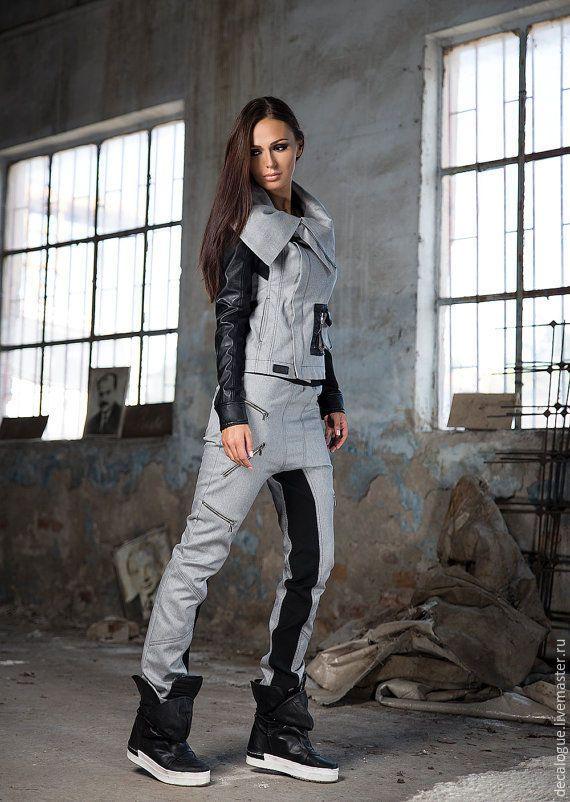 """Купить Брюки """"COMBAT"""" - серый, брюки женские, брюки с карманами, брюки широкие, спортивный стиль"""