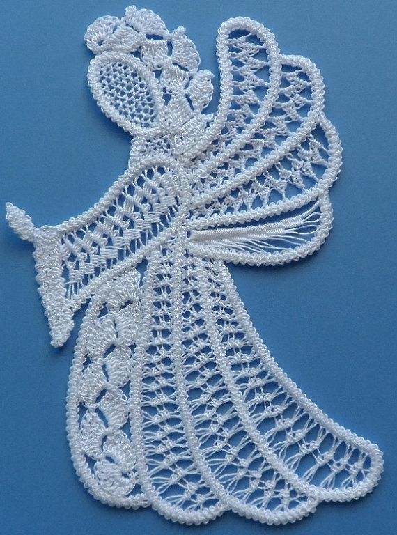 Praying Angel - 80CW, Romanian Point Lace