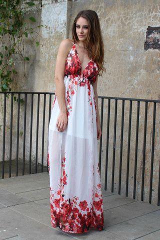 Firefly Chiffon Rose Maxi Dress