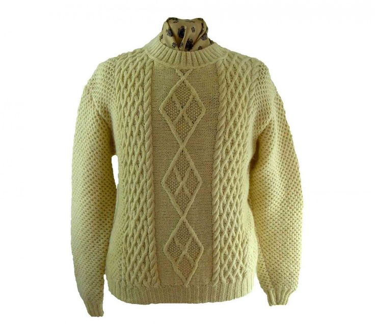 Jaeger Sweater Pure Wool, size XL crew necked navy blue, black and white Scottish jumper, Made in Scotland,