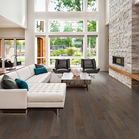 Wirebrushed Wool Oak wire brushed solid hardwood floor. Grey oak wood finish, 34 in. thick, 1-strip 5 in. plank solid hardwood flooring, lifetime warranty.
