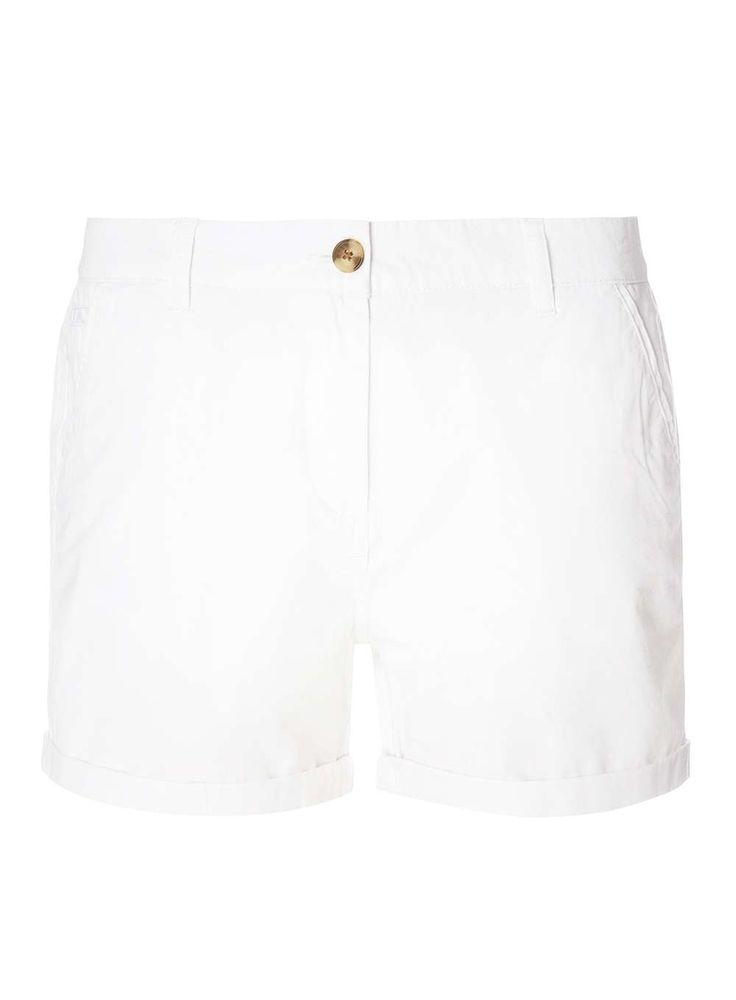 Womens White Chino Shorts- White