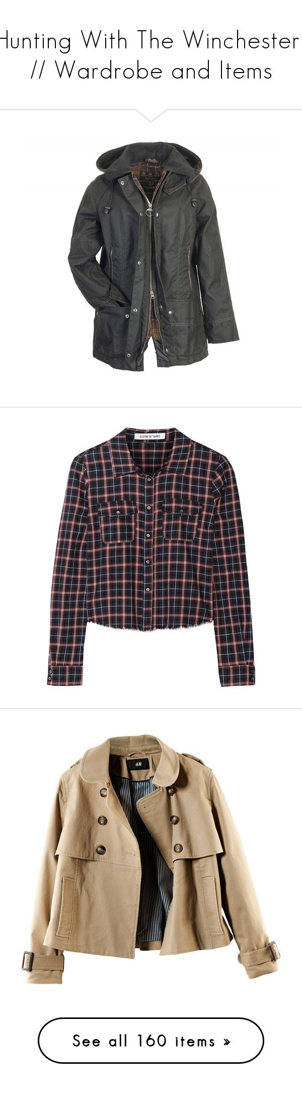 """""""Hunting With The Winchesters // Wardrobe and Items"""" by rosemary52 ❤ liked on Polyvore featuring outerwear, jackets, coats, tops, barbour, hooded jacket, wool jacket, barbour jacket, hooded wool jacket and shirts"""