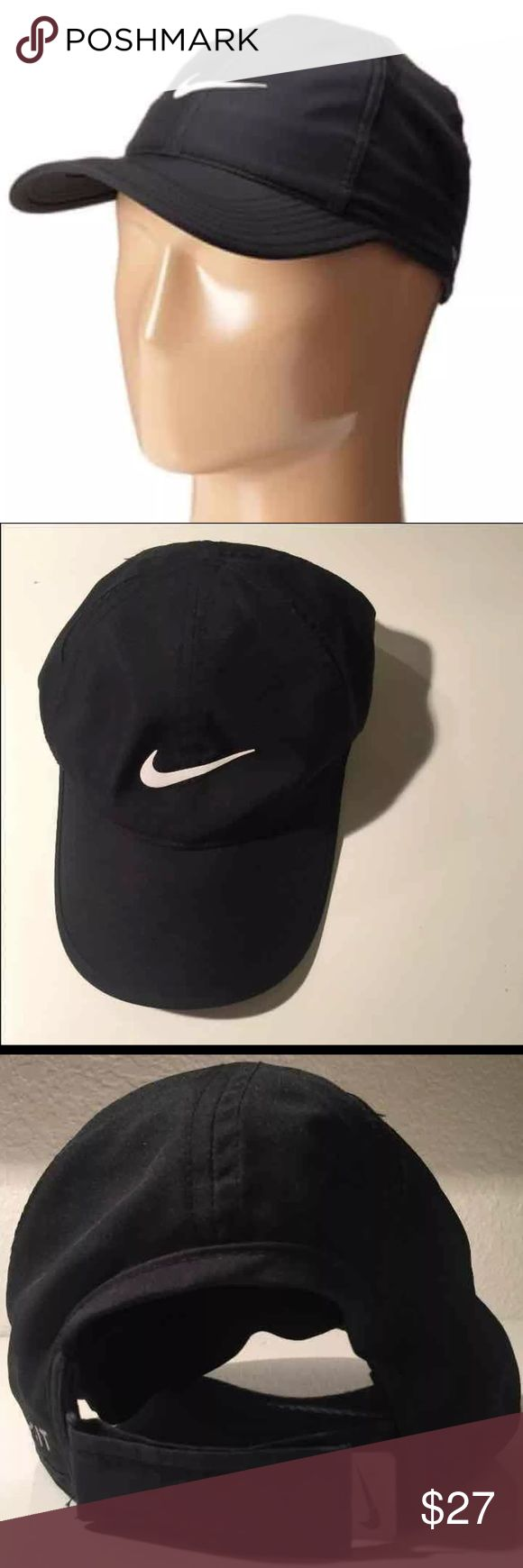 Nike Hat Nike Feather Light Dri-Fit Hat  Like new. Velcro Adjustment Strap, internal band to keep hat secure on head. Very cute and lightweight for hikes or the gym ! Re-Posh: bought from another posher and didn't care for how the hat looks on me so I'm listing it. No flaws or defects. Nike Accessories Hats