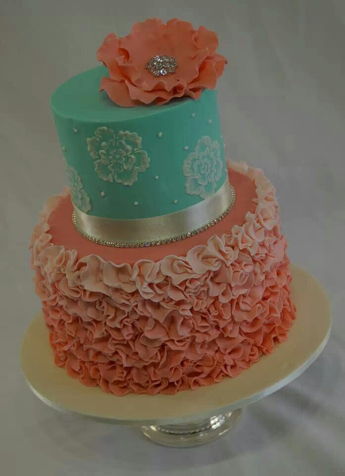 Peach and teal cake