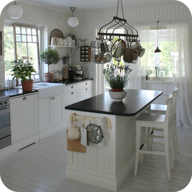 White and black country kitchen