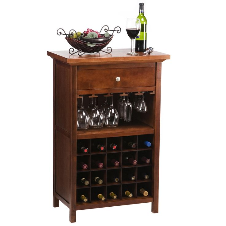 Winsome Vicenza 20-Bottle Wine Table with Glass Storage | from hayneedle.com