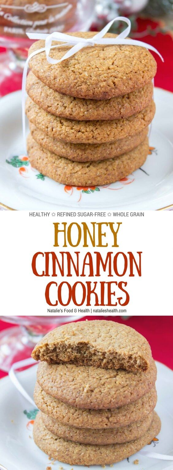 Soft and puffy, Honey Cinnamon Cookies are the quick, easy and delicious treat. Made with all HEALTHY ingredients, packed with cinnamon flavor and sweetened with natural sweeteners, they are the healthier version of the old-fashioned cookies! Perfect for Holidays, and yummy throughout the year. #cookies #holiday #christmas #kidsfriendly #healthy #WholeGrain #SugarFree #cinnamon #honey #lowcalorie | natalieshealth.com