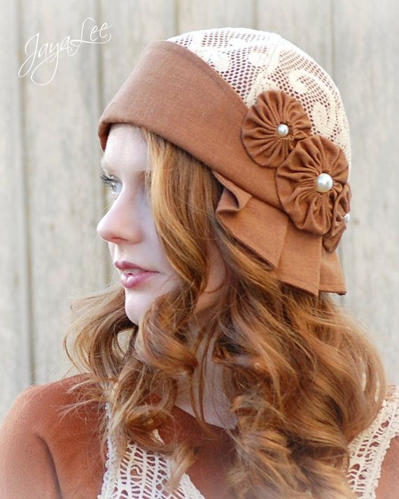 Rust and Lace Cloche Hat by GreenTrunkDesigns on Etsy