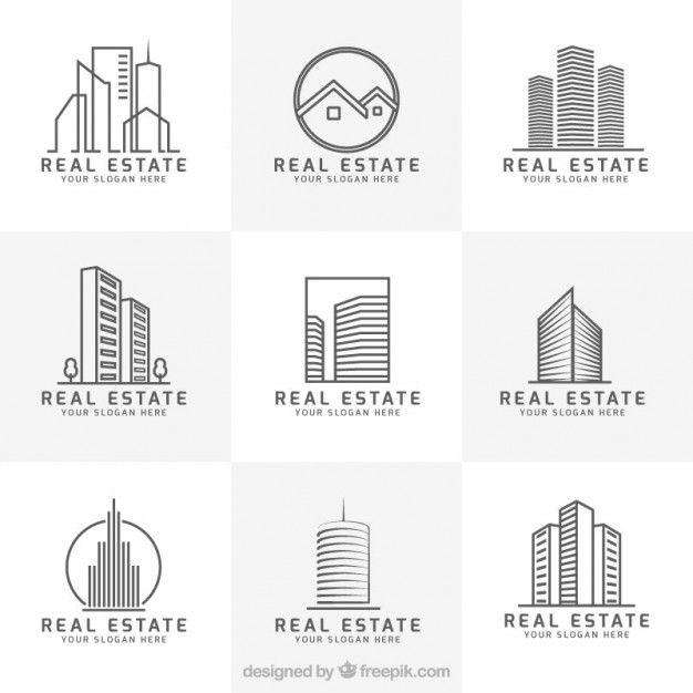 Colección de logos modernos de inmobiliaria Vector Gratis