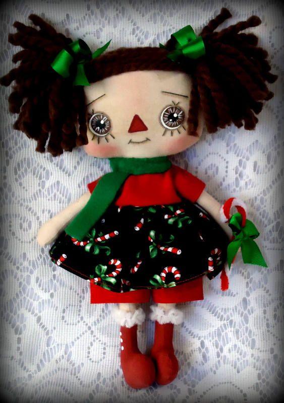 Christmas Annie, Primitive Raggedy Annie, Rag Doll, Prim Decor, All is Bright Dolls, 10 1/2 in doll, Old Raggedy Doll, Candy Cane Annie by Allisbright on Etsy