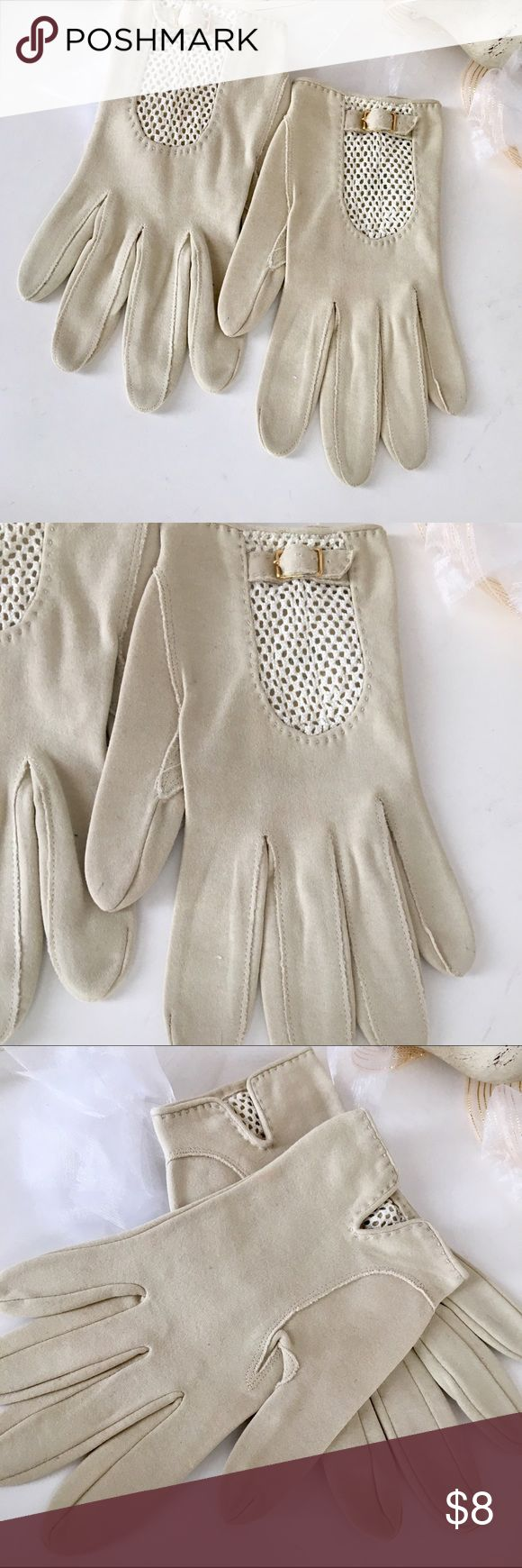 Vintage Cream Gloves💐 These are DEFINITELY VINTAGE. CAME IN LARGE LOT OF ACCESSORIES from an estate sale in the Midwest. They are likely a LG/7-8. Hate to say NWTS, though local Department Store tags were still attached (circa 1950s, $11.99😊) I wear size 7/8/9 rings, so for a larger hand. Can take seriously or use in a campy style; I love. Absolutely Pristine; Hardware is still perfect. No stains, stitching is solid. Also have in White; Equally Fine. Enjoy 💚💗 Vintage Accessories Gloves…
