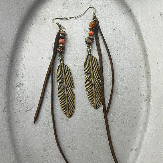 Free Spirit - Earrings Adventure - brass feathers with leather cords tigers eye leather straps