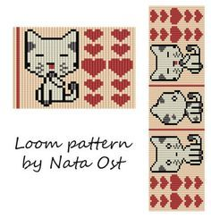 Beading Loom Pattern Bracelet Meow-Meow Seed Bead Cuff by NataOst