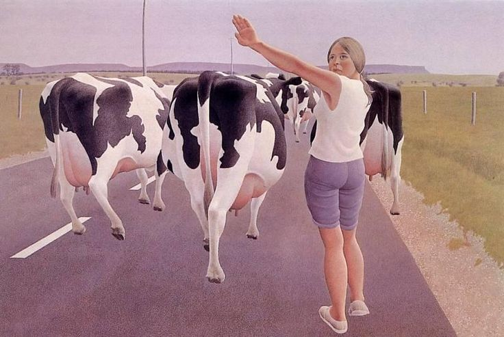 alex colville paintings | Alex Colville - Stop for Cows Colville, Alex Art Gallery Encyclopedia