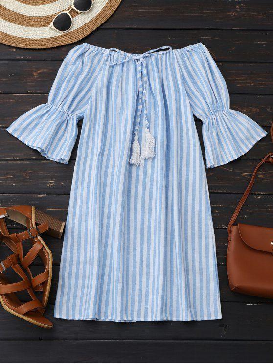 Off Shoulder Drawstring Striped Dress - LIGHT BLUE S