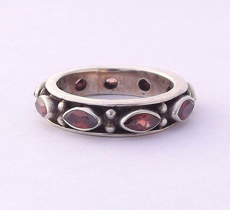 Men's Eternity Ring, Man's Vintage Silver & Garnet Ring, UK size T ~ US size 9 1/2 by DaisysCabinet on Etsy