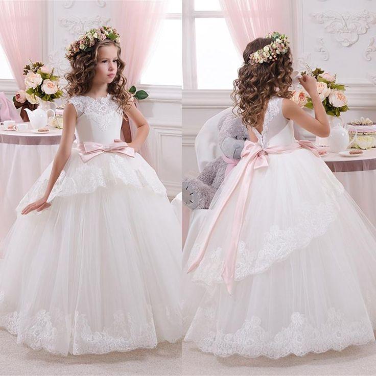 ホワイトアイボリーbloemenmeisjes jurk子供初聖体ドレス女の子のための2016ボールガウンベルトピンクエレガントなフラワーガールのドレス