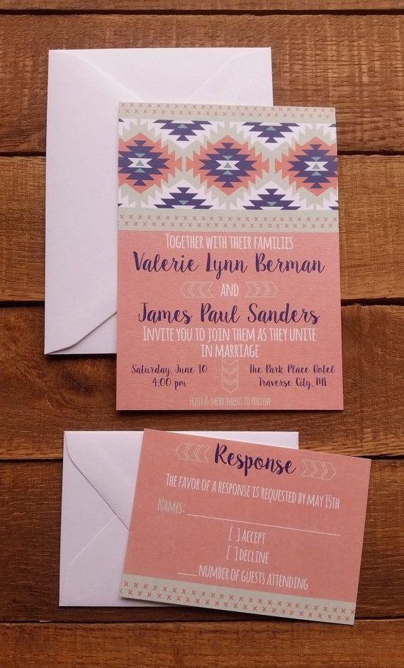 proper response time for wedding rsvp%0A Modern Wedding Invitation  u     RSVP Tribal Love by HappyHeartInvites