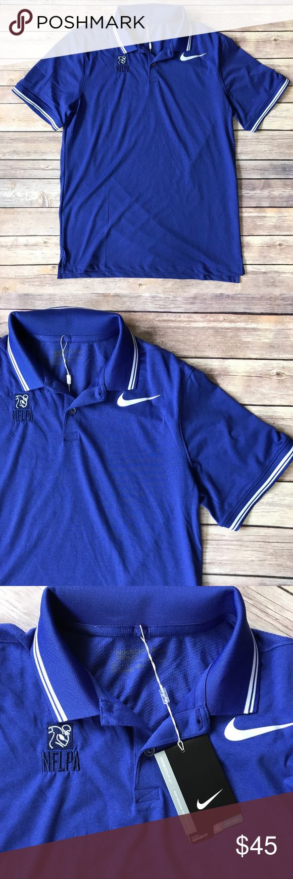 Nike golf dry tipped slim fit polo shirt blue M Nike Golf Dry Tipped men's polo shirt in blue (nearly purple in some lights). Nike swoosh logo in white. Men's size medium. NFLPA monogram on the chest.  This shirt is new with the tags still attached. Nike Shirts Polos
