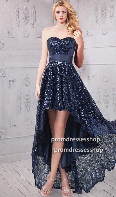 719bc97c02a Cute Strapless Navy Sequin High Low Bridesmaid Prom Dress in 2019 ...