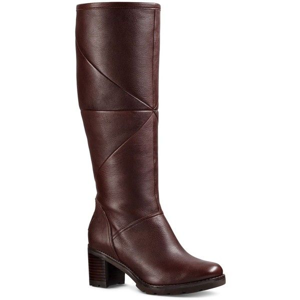 Ugg Avery Leather and Sheepskin Tall Boots ($196) ❤ liked on Polyvore featuring shoes, boots, stout, high boots, high leather boots, sheeps boots, real leather knee high boots and tall sheepskin boots