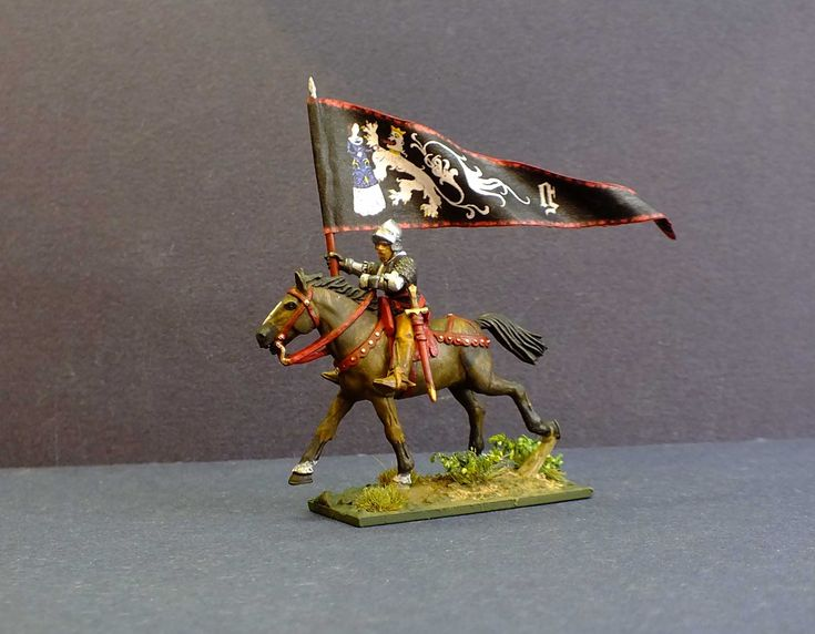 The 'Maid of Ghent' a Flemish standard for mercenaries that served under Charles the Bold c 1476.. Agnes van den Bossche is recorded as the painter for this banner and many others. Figure is a 28mm hard plastic multi part figure from Perry Miniatures.